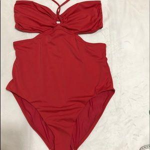 Ann Taylor Beach One Piece Bathing Suit Red/Orange